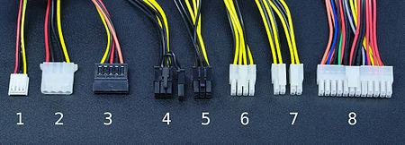 conectores fuente de alimentación numerados